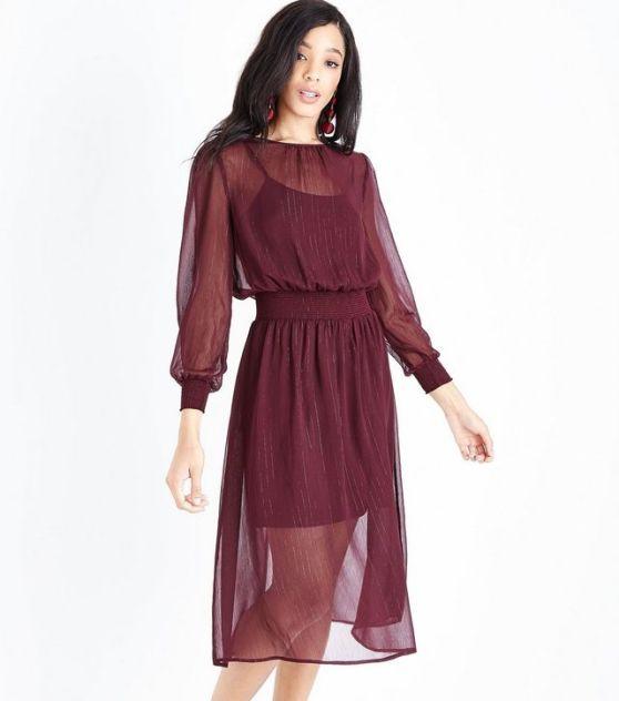burgundy-metallic-stripe-chiffon-midi-dress